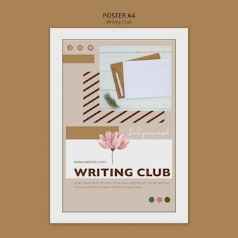 Modèle d'affiche de club d'écriture