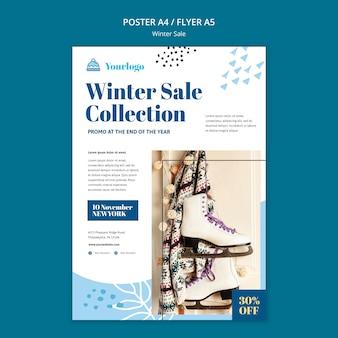 Modèle d'affiche de collection de soldes d'hiver