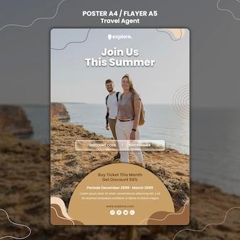 Modèle d'affiche de concept d'agent de voyage
