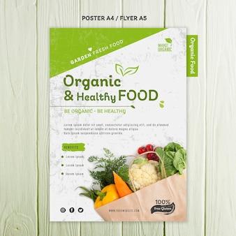 Modèle d'affiche de concept d'aliments biologiques