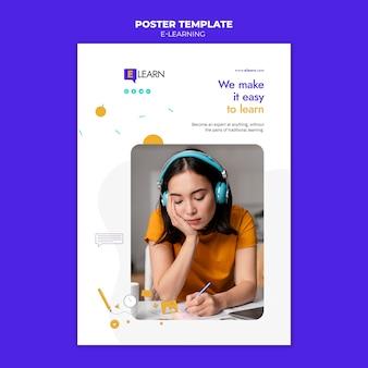 Modèle d'affiche de concept d'apprentissage en ligne