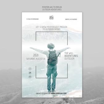 Modèle d'affiche de concept d'aventures en plein air