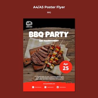 Modèle d'affiche avec concept de barbecue