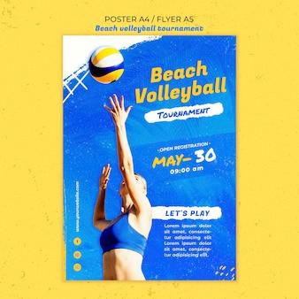 Modèle d'affiche de concept de beach-volley
