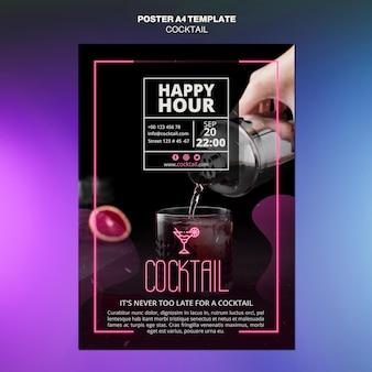 Modèle d'affiche de concept de cocktail