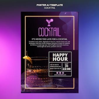 Modèle D'affiche De Concept De Cocktail Psd gratuit