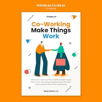 Modèle d'affiche de concept de coworking