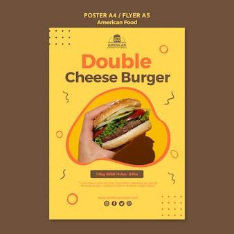 Modèle d'affiche avec concept de cuisine américaine