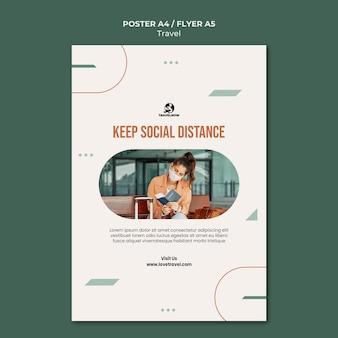 Modèle d'affiche de concept de distance sociale