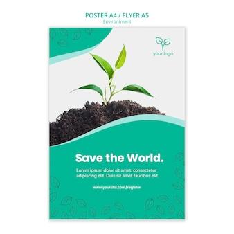 Modèle d'affiche avec concept d'environnement
