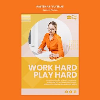 Modèle d'affiche de concept de femme d'affaires
