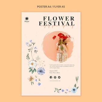 Modèle d'affiche de concept de festival de fleurs