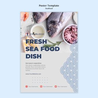 Modèle d'affiche de concept de fruits de mer