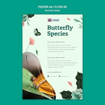 Modèle d'affiche de concept d'habitat de papillon