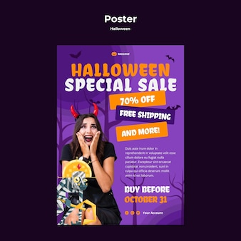 Modèle d'affiche de concept halloween