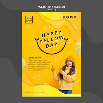 Modèle d'affiche de concept de jour jaune