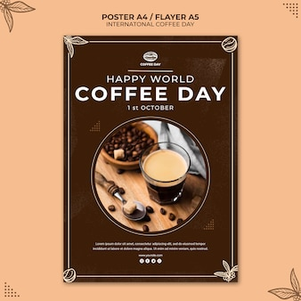 Modèle d'affiche de concept de journée internationale du café