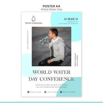 Modèle d'affiche de concept de journée mondiale de l'eau