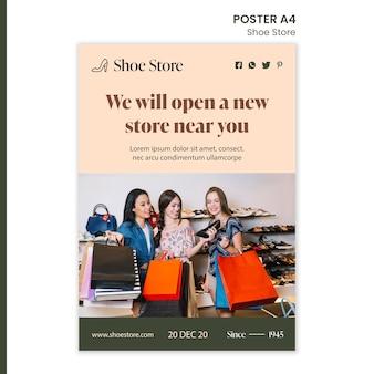 Modèle d'affiche de concept de magasin de chaussures