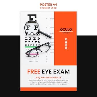 Modèle d'affiche de concept de magasin de lunettes