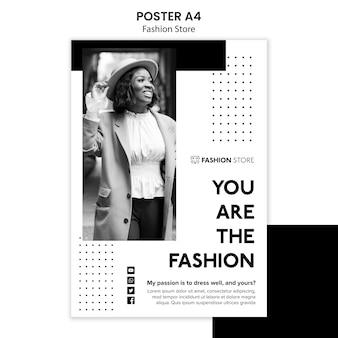 Modèle d'affiche de concept de magasin de mode