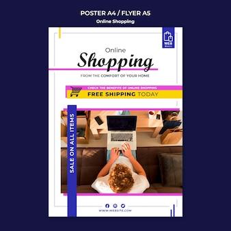 Modèle d'affiche de concept de magasinage en ligne