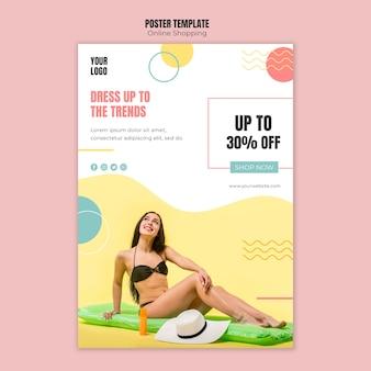 Modèle d'affiche avec concept de magasinage en ligne