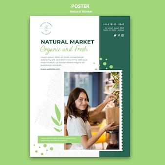 Modèle d'affiche de concept de marché naturel