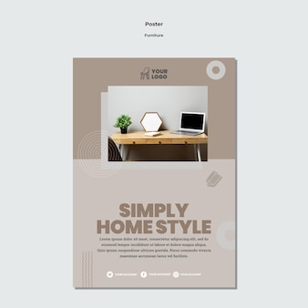 Modèle d'affiche de concept de meubles