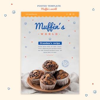 Modèle d'affiche de concept de muffins