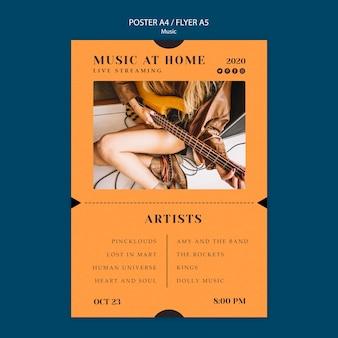 Modèle d'affiche de concept de musique