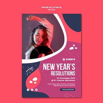 Modèle d'affiche de concept de nouvel an