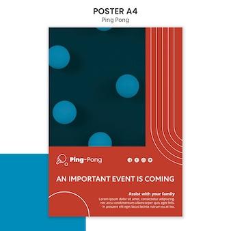 Modèle d'affiche de concept de ping-pong
