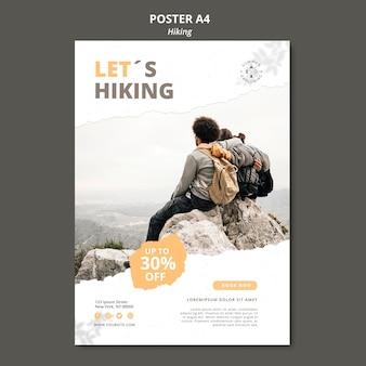 Modèle d'affiche de concept de randonnée