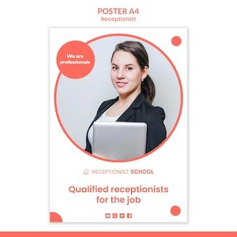 Modèle d'affiche de concept de réceptionniste