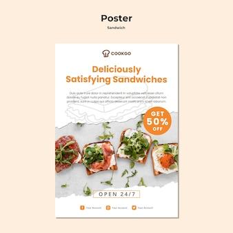 Modèle d'affiche de concept de sandwich
