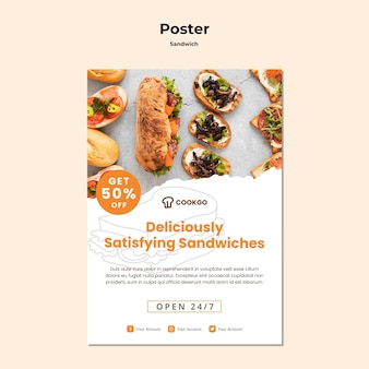 Modèle D'affiche De Concept De Sandwich Psd gratuit
