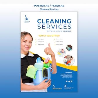 Modèle d'affiche de concept de service de nettoyage