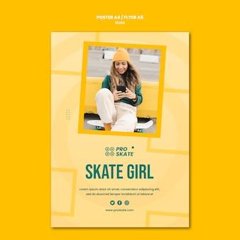 Modèle d'affiche de concept de skate