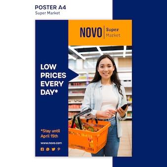 Modèle d'affiche de concept de supermarché