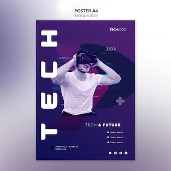 Modèle d'affiche avec concept technologique