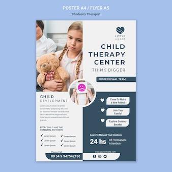 Modèle d'affiche de concept de thérapeute pour enfants