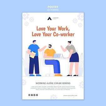 Modèle d'affiche de concept de travail ensemble