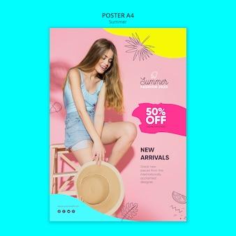 Modèle d'affiche avec concept de vente d'été