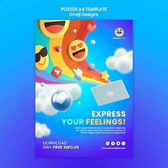 Modèle d'affiche de conception emoji