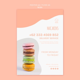 Modèle d'affiche avec conception de macarons