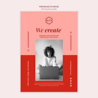 Modèle d'affiche de conception de studio web