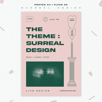 Modèle d'affiche de conception surréaliste