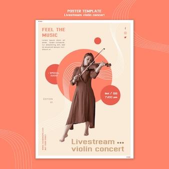 Modèle d'affiche de concert de violon livestream
