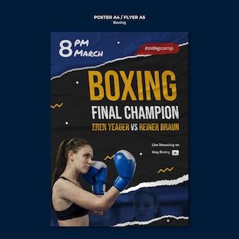 Modèle d'affiche de concours de boxe